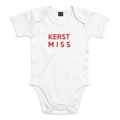 BABY ROMPER KERST MISS WIT RODE TEKST