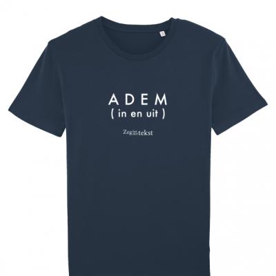 MANNEN (UNISEX)  T-shirt ronde hals  Adem (in en uit) (Zeg het met tekst)