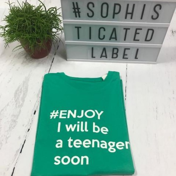 Jongens T-shirt #ENJOY I WILL BE A TEENAGER SOON