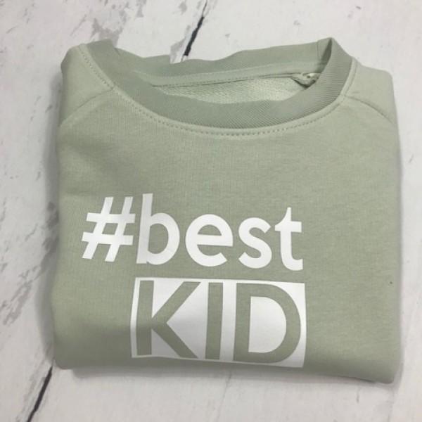 SOLDEN SWEATER JONGEN/MEISJE 3/4 JAAR #BEST KID LICHTGROEN TEKST WIT