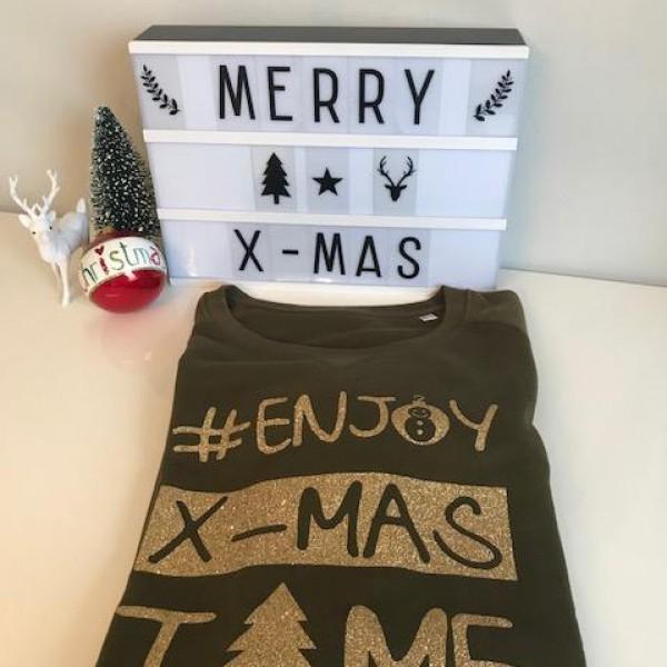 Vrouwen kerstsweater medium fit #ENJOY X-MAS TIME