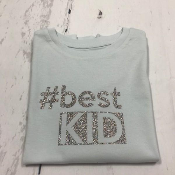 SOLDEN T-SHIRT MEISJE 5/6 JAAR #BEST KID KLEUR LICHTGROEN TEKS GLITTER MULTI