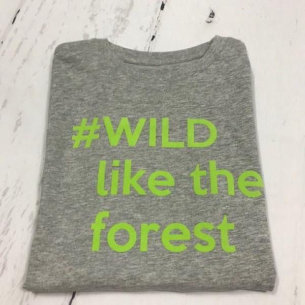 SOLDEN T-SHIRT JONGEN/MEISJE 7/8 JAAR KLEUR GRIJS #WILD like the forest