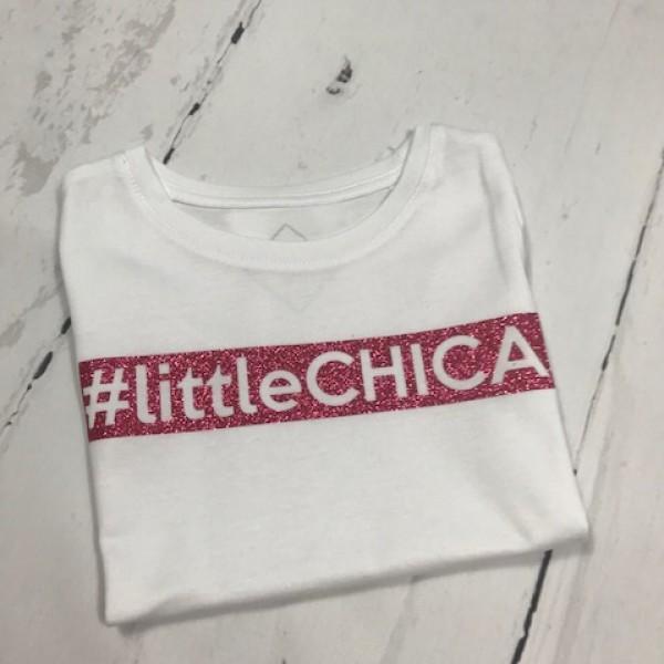 SOLDEN T-SHIRT MEISJE 3/4 jaar #littleCHICA KLEUR WIT