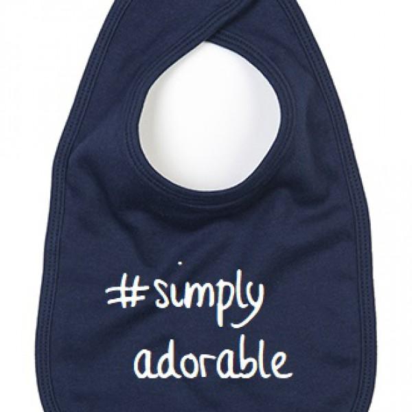 BABY SLABBETJE #SIMPLY ADORABLE (ALS JE ANDERE TEKSTKLEUR WIL VERMELDEN IN OPMERKING)