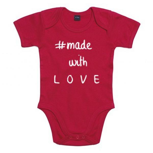 BABY ROMPER #MADE WITH LOVE (ALS JE ANDERE TEKSTKLEUR WIL VERMELDEN IN OPMERKING)