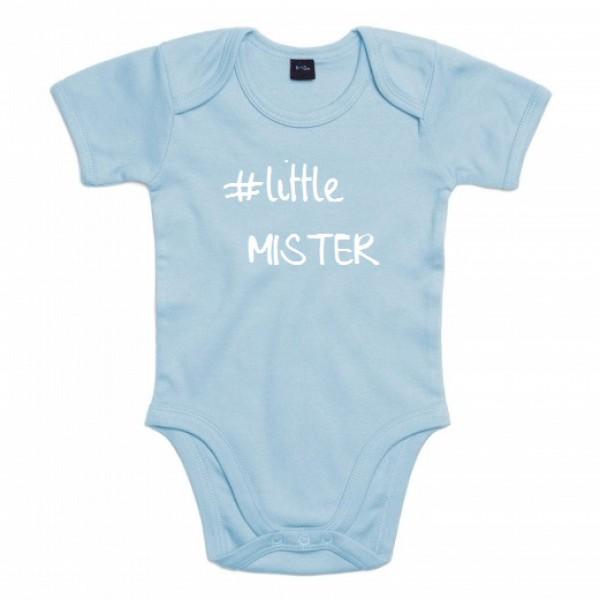 BABY ROMPER #LITTLE MISTER (ALS JE ANDERE TEKSTKLEUR WIL VERMELDEN IN OPMERKING)