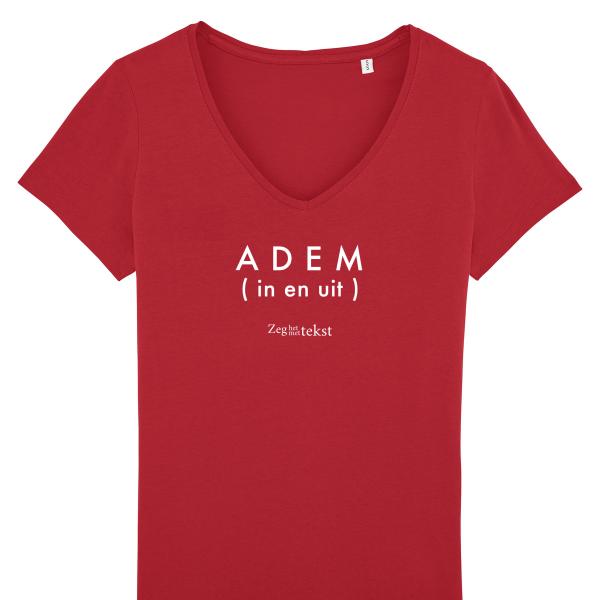 VROUWEN T-shirt V-hals Adem (in en uit) (Zeg het met tekst)